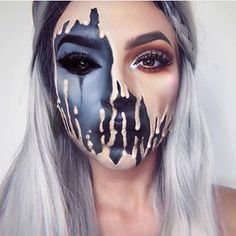 Optical Illusion Make Up Halloween Carnival Black Skin .- optische täuschung make up halloween fasching schwarz hautfarbe verschwommen optical illusion make up halloween carnival black skin color blurred up – - Cool Halloween Makeup, Scary Makeup, Fx Makeup, Halloween Looks, Demon Makeup, Horror Makeup, Halloween Inspo, Halloween 2018, Spooky Halloween