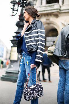 Street Style_ nautical striped biker jacket worn back with denim & blues || Saved by Gabby Fincham ||