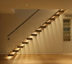 Contemporary Stairs, Modern Staircase, Staircase Design, Staircase Landing, Stair Design, Curved Staircase, Staircase Lighting Ideas, Stairway Lighting, Corridor Lighting