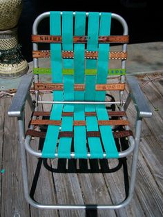Used belts woven into a new chair seat...