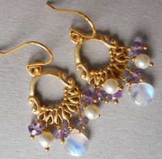 Flash of Sass Mini Moonstone and purple amethyst by SueanneShirzay, $42.00