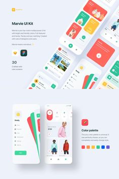 Marvie is your top-notch multipurpose UI kit with bright and friendly colors. Full-featured and handy. Trendy and eye-catching. Created with care of designers and users.  All components and symbols are named, well-organized and ready to use. It's easy to edit and replace in Sketch and Figma.  Color palette, typography and components are customizable to create your personal unique styles in just a few clicks. Web Design, App Ui Design, Best App Design, User Interface Design, Site Design, Flat Design, Application Ui Design, Application Mobile, App Design Inspiration