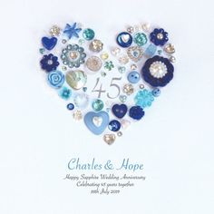 personalised sapphire wedding anniversary button heart by sweet dimple   notonthehighstreet.com