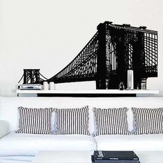 StickerBrand Wall Decals Of Maps u0026 More NYC Brooklyn Bridge 57x33 Black now featured on & 41 best New York City Wall Decals u0026 Stickers images on Pinterest ...