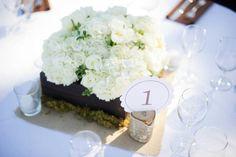 Rustic white centerpiece in wood box. Hudrangea, roses, tulips, ranunculus.  Gainey vineyard wedding