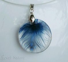 Boho Pendant Blue Feather Jewelry Eco Resin Necklace bird