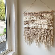Using coloured woolen yarn to create these wall hangings - using weaving techniques on a weaving loom. Mainly rya loops and tabby weave. Perfect wall decor, adding woven texture and warmth! This one is very neutral, light pinks and whites! Soft Colors, Colours, Woven Wall Hanging, Loom Weaving, Weaving Techniques, Wall Decor, Tapestry, Ceiling Lights, Texture