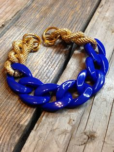 Blue and Gold Chunky Chain Bracelet