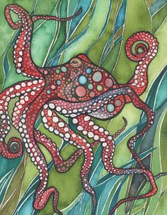 Red OCTOPUS 8.5 x 11 print of multicolor red octopus in strips of green, nautical beach house cottage bathroom bedroom nursery baby decor
