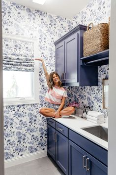 brighton keller laundry room blue and white print wall paper navy blue painted cabinets cute laundry room Laundry Room Decor Laundry Room Cabinets, Blue Cabinets, Laundry Room And Pantry, Laundry Closet, Cupboards, Laundry Room Wallpaper, White Laundry Rooms, Small Laundry, Laundry Room Inspiration