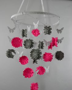 Dahlia and Butterfly Paper Mobile in Hot Pink, Gray and White by whimsicalaccents on Etsy. Perfect for any room in your home. Mobiles, Diy Fleur Papier, Pink Grey, Hot Pink, Planet Mobile, Diy Bebe, Baby Mobile, Ceiling Decor, Baby Items