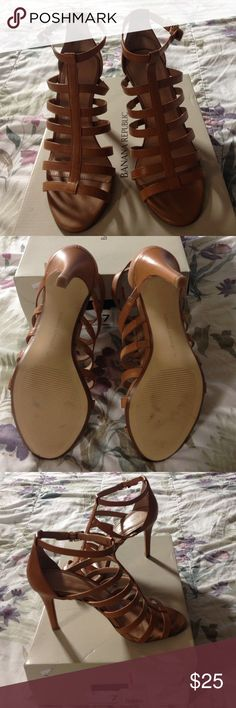 "BR strappy heels in EUC. SZ 7M. Banana Republic ""Grettah"" style heels in the color ""classic caramel."" EUC since it's only been worn once, mostly inside. 6 straps plus the ankle strap. Gold hardware with leather upper. Lining, sock and outer sole is made of ""other materials."" Heel is almost 4 inches. No PayPal. No trades. Comes from a smoke-free and pet-free home. Banana Republic Shoes Heels"