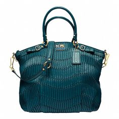 Teal gathered leather Lindsey #coach