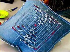 Make a recycled cushion 2/4 (denim DIY)