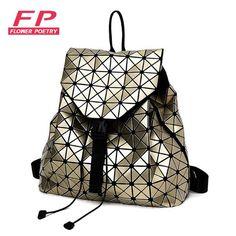 2016 New BaoBao Luminous Backpacks Female Fashion Girl Daily Backpack Geometry Package Sequins Folding Bags Bao Bao School Bags
