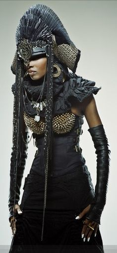 """Nubian Queen"" In Headdress and Armor, Warrior-Mode. Look Fashion, Fashion Art, Fashion Design, Latex Fashion, Editorial Fashion, High Fashion, Womens Fashion, Cosplay, Costume Original"