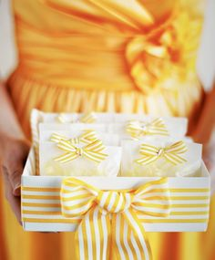 Small glassine bags with ribbon trim
