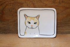 Hand made & animal painted  Versatile dish - Soap Dish - Jewelry Dish - Ceramic Dish - Cute Cat Dish by CreativeStoneCera on Etsy
