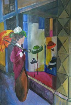 Naar een schilderij van August Macke. De hoedenwinkel. Acryl op papier. 70x100 cm
