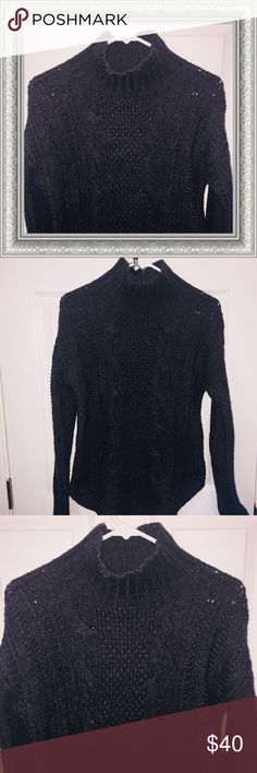 Victoria's Secret Cable Knit Sweater Beautiful mock-neck cable knit sweater from Victoria's Secret clothing line no longer available!! Rounded hi-lo hem. 70% Acrylic 30% Wool. Victoria's Secret Sweaters
