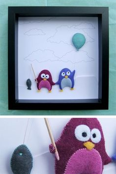 Felt penguins - felt and paper cut idea Baby Crafts, Felt Crafts, Diy And Crafts, Crafts For Kids, Diy Projects To Try, Craft Projects, Sewing Projects, Box Frame Art, Felt Penguin