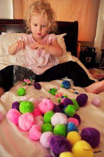 Homeschool Preschool- Counting and Sorting Pom Poms.