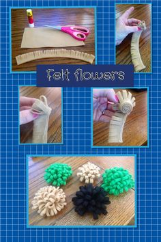 Make cute flowers from felt.  Fold over approx 2 inch felt lengthways , glue at open end.  Make slits along folded ends.  Glue along base of felt and roll onto itself.  Allow to dry.  Closer cuts together make more 'petals'.  Use to decorate presents, jackets, make headbands etc.