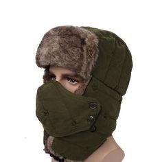 Tri-polar Unisex Winter Hiking Hunting Outdoor Bomber Hats Thicken Balaclava  Cotton Fur Earflap c4dcff3d9470