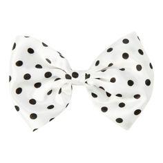 LOVEsick White & Black Polka Dot Hair Bow | Hot Topic ($4) ❤ liked on Polyvore