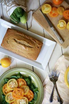 Yellow Tomato Cake. Sub butter with vegan butter or coconut oil, and eggs with egg replacer.
