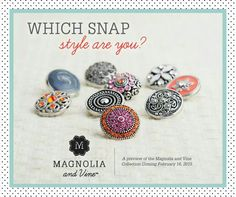 Which Snap Style are you? * * * * * * * * * * * * * * * * * * * * Melissa Spencer, Magnolia and Vine Independent Style Consultant * * * * * * * * * * * * https://www.facebook.com/pages/Magnolia-and-Vine-by-Melissa-Spencer-Independent-Style-Consultant/561934140615637 * * * * * * * * #magnoliaandvine #snapjewelry #founder