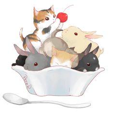 amarakittyof: Bunnies & Kittens, whats better than that? Source: pixiv.net