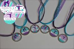 Gymnastics Birthday Party Favors - Customized Party Favors - Bottlecap Necklaces - McKenna Collection - Set of 6 - Free Customization