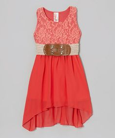 Take a look at this Coral Chiffon Dress by Just Kids on #zulily today!