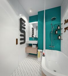Яркий интерьер для маленькой квартиры. Ванная
