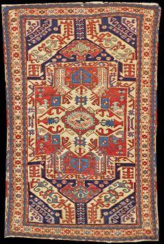 "Antique Karabagh ""Kasim Ushag"" rug, late 19th century, Elisabethpol Governorate (Елизаветпольская губерния), Zangezur Uyezd, Kasim Ushak Oba."