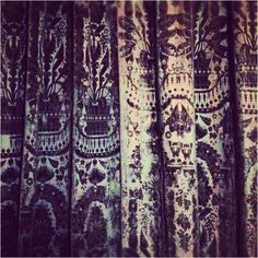 Antique velvet curtains from Hardwick Hall.  Photo by Justine Moore