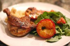 Duck Legs With Grilled Plums from YumSugar Cherry Recipes, Fruit Recipes, Cooking Recipes, Duck Leg Recipes, Plum Juice, Goose Recipes, Stone Fruit, Diy Food, Dinner Recipes