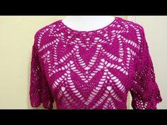 Hermosa blusa rosa / tutorial en video | Crochet y Dos agujas - Patrones de tejido