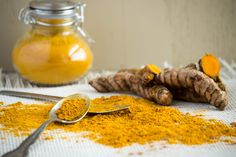 Healthy living begins with healthy food. Turmeric root may help with anti-aging. Add to food, use as a tonic, or display a healthy lifestyle. Light colored background, classic spice jar, and ground curcumin and turmeric root displayed with spoons Turmeric And Pepper, Turmeric Root, Health And Wellness, Health Tips, Anti Inflammatory Recipes, Healthy Aging, Nutrition Guide, Korn