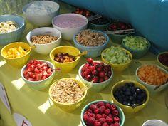 yogurt parfait bar - different serving pieces but great selection.