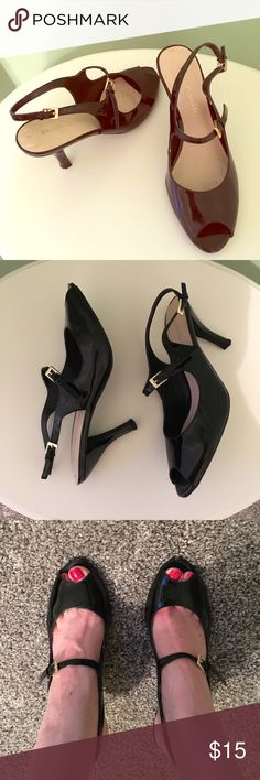 """Black Franco Sarto Heels 👠 Black heels approximately 3"""" high. Gold adjustable back and front. Gently used but still lots of life in them! Franco Sarto Shoes Heels"""