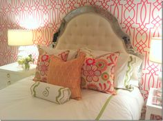 Great punch of color with graphic wallpaper for girl's room!