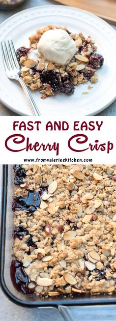 The use of frozen cherries make this Fast and Easy Cherry Crisp a dessert that can be pulled together on a whim. A great last minute dessert choice!