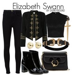 """Elizabeth Swann"" by leslieakay ❤ liked on Polyvore featuring Frame, Yves Saint Laurent, J.W. Anderson, Lord & Taylor, disney, disneybound and disneycharacter"