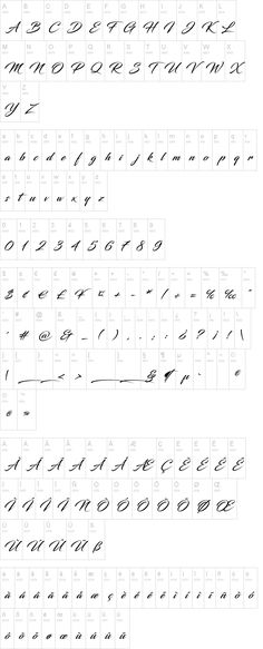 Cursive tattoo font upper lower numbers calligraphy