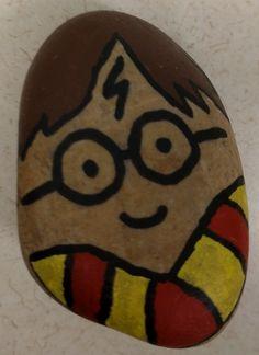 Harry Potter by J.K. Rowling. Painted rocks. #DBRLRocks
