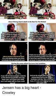 Jensen has a big heart ❤ I love him  He can mess with all of the cast members but actually cares a lot ❤
