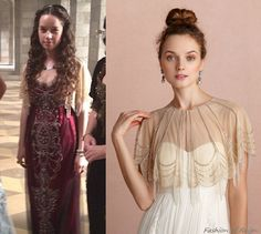 In the picture instagrammed by Reign Costume department Anna Popplewell (as Lola) wears this Moyna Trickling Capelet ($140). Worn with Reem Acra dress.