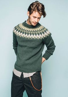 Nord Mens pullover pattern by Sandnes Design Male Sweaters, Wool Sweaters, Sweaters For Women, Men Sweater, Sweater Knitting Patterns, Knitting Designs, Fair Isle Pullover, Norwegian Knitting, Icelandic Sweaters